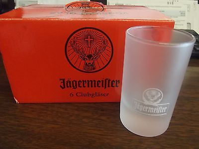 Jagermeister STAG LOGO 6 = frosted  Club / Shot glasses. 2cl/4cl  NEW IN BOX