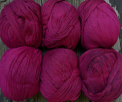Lace weight, wool and cotton blend yarn, hand dyed rose, 6 balls,10 oz.