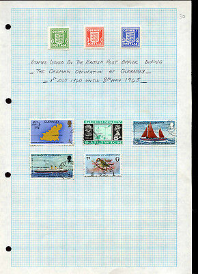 Guernsey German Occupation Album Page Of Stamps #V4910