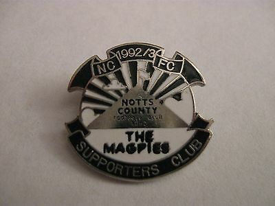 Rare Old 1992-93 Notts County Football Supporters Club Enamel Brooch Pin Badge