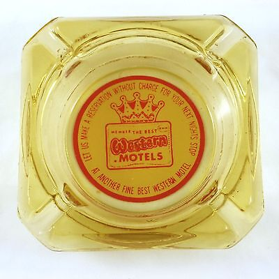 """Vintage Glass Ashtray Best WESTERN MOTELS Pale Yellow 3.5"""" 1960s"""