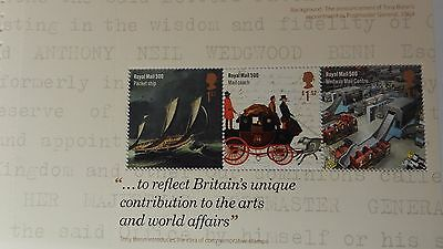 DY16 2016 500 Years of Royal Mail Prestige  Booklet Pane - MINT