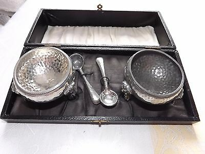 Boxed Antique Pewter Pair of Salts & Spoons with Claw Feet