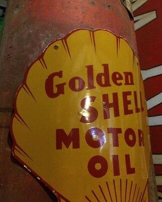 Visible Shell Gas Pump Gasoline Porcelain Sign Gulf Texaco Dino Station