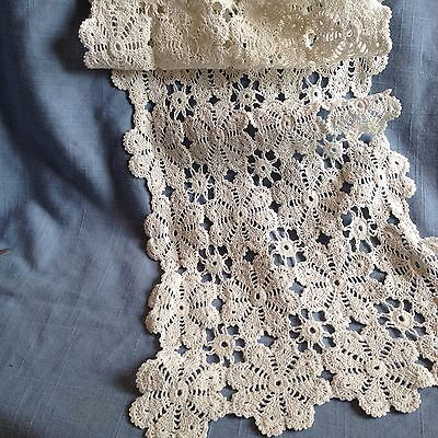 Vintage white hand made floral lace long runner in good clean condition
