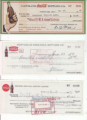 COCA-COLA CHECKS 3 DIFFERENT Cities and Designs DATED  1945, 1967, 1970