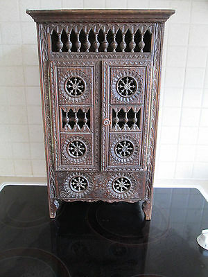 Quimper French handmade carved minature wooden wardrobe armoire