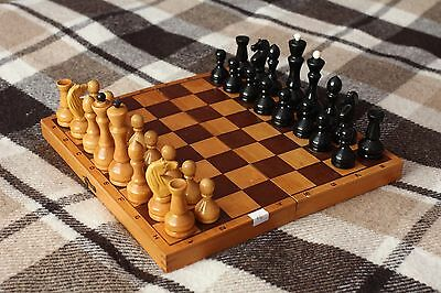 "EXC. 12,2"" Vintage Soviet Chess USSR Wooden Chess - Full Set!"