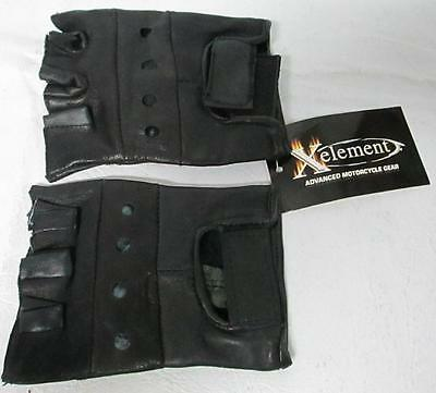 Ladies Fingerless Leather Driving Motorcycle Biker Gloves Size L New With Tag