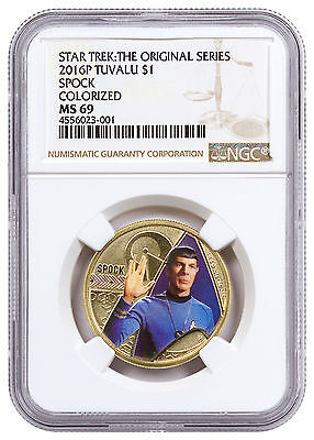 2016-P Tuvalu Star Trek - Spock Colorized Aluminium Bronze $1 NGC MS69 SKU47510