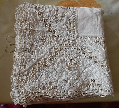 French 19thC Embroidered Lace Linen Small Table Cloth
