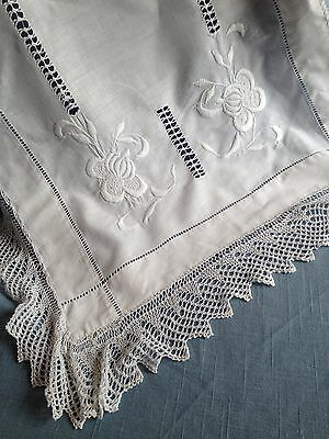 Vintage white Irish linen side table cloth - raised white work knitted lace edge