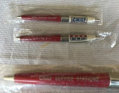 Vintage lot of 2 CHEIF SERVICE STATIONS gas station ink pens NEW sealed