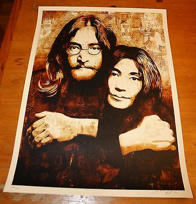 John and Yoko Art Print created and signed by artist Shepard Fairey