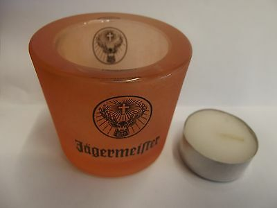 Jagermeister Frosted Orange Candle Holder With Tea Light Insert New