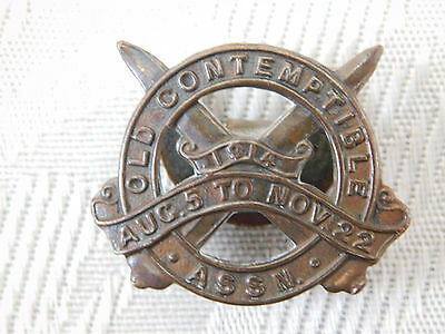 Ww1 World War One Early Mons Star Old Contemptible Assn Numbered Badge 4198