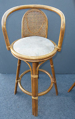Pair Of Vintage Wicker Bamboo Rattan Cane Barstools Mid Century