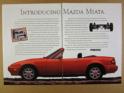 1990 Mazda MX-5 Miata 'Introducing' red car photo 2 page vintage print Ad