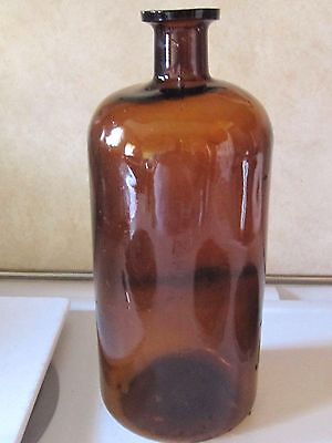 "Antique Large APOTHECARY JAR bottle amber 11"" Medicine Pharmaceutical 1870 glass"