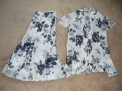 MARKS & SPENCER Per Una Gorgeous White/Grey Floral Top & Skirt set size 18 & 16