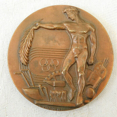 Nice Vintage Bronze French Olympic Pradeilhes Sports Ministry ? Medal Medallion