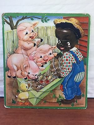 Vintage 1950's Black Americana Pig Farmer Child's Toy Puzzle Game