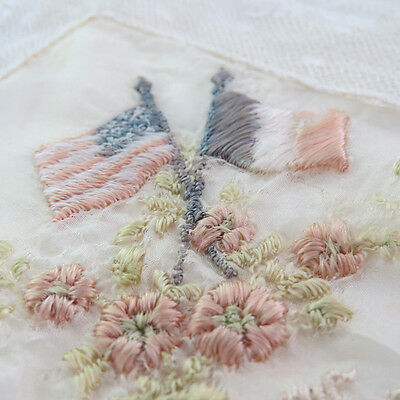 Old Exquisite Delicate Antique French Lace Embroidery Flowers Flags Handkerchief