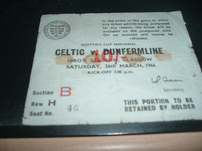 Ticket Dunfermline Athletic v Celtic 1966 Scottish Cup Semi Final at Rangers