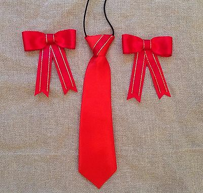 childs equestrian showing set - show tie & bows RED & RED WITH /GOLD - Lead Rein