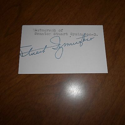 Stuart Symington, was an American businessman Hand Signed Card