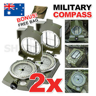 2x Professional Military Army Metal Sighting Compass Clinometer Camping Hiking