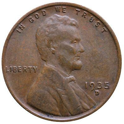1935 D Lincoln Wheat Cent Very Fine Penny VF