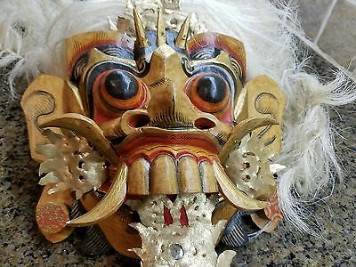 AUTHENTIC HAND CARVED WOOD BALINESE BARONG MASK - Tribal Dance Mask ~ Bali HAIR