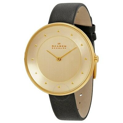 Skagen SKW2262 Ditte Gold Dial Black Leather Ladies Watch