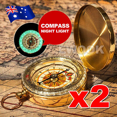 2x Classic Portable Compass Lumin Pocket Watch Bronzing Hiking Outdoor Camping