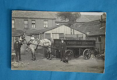 c1910 Real Photo RP Postcard Furniture Removals Business Horse Cart Dog Totter