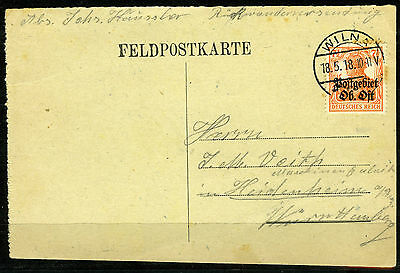 Lithuania, 1918, German Occupation, Fieldpost from retreating German Soldier