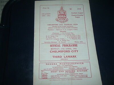 Chelmsford City v Third Lanark April 1961 friendly