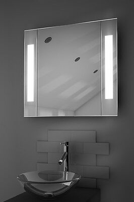 Illuminated Bathroom Mirror Cabinet with Sensor, Shaver - c17