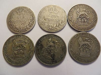Lot of 6 Great Britain Silver 6 Pence, mixed dates