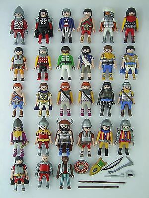Job Lot of 27 Playmobil Medieval Soldier Figures, Weapons & Shields