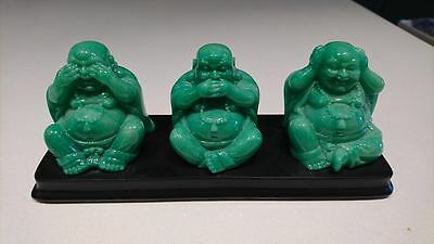 Green Buddah Statues Green Asian Hand Carved Figure - Jade?