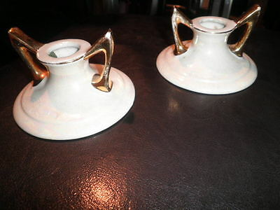 Vintage Pearl China Company 22Kt Gold Candlesticks Lustreware Irredescent