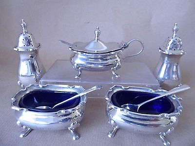 Walker & Hall Antique Sterling Silver Condiment Set 1920