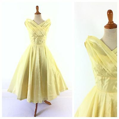 TRUE VINTAGE 1950s 50s yellow dress formal party prom costume silk xxs 00 12 14