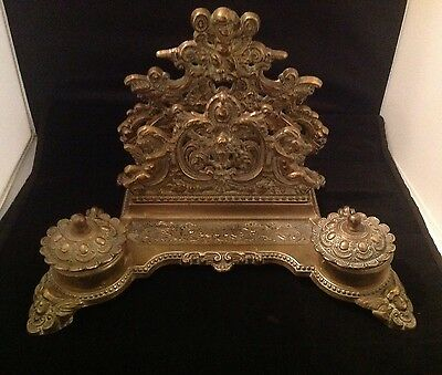 Victorian Desk Brass  Ink Well And Letter rack