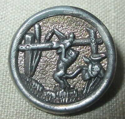 """Antique Victorian Metal Picture Button - CAT PLAYING w BIRD ON FENCE - 11/16"""""""