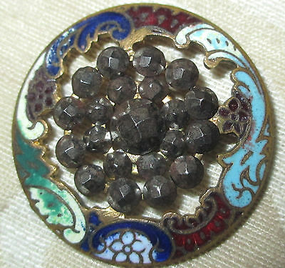 """LG PIERCED ANTIQUE FRENCH ENAMEL BUTTON w 19 RIVETED FACETED CUT STEELS - 1 1/4"""""""