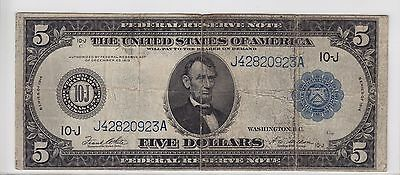 United States 1914 $5 Kansas City Federal Reserve Note FR#883A J42820923A