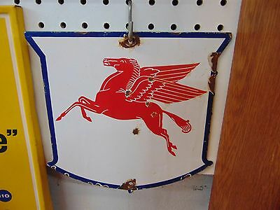 Vintage Mobil Pegasus Gas Pump Plate Advertising Sign Gas Station Man Cave
